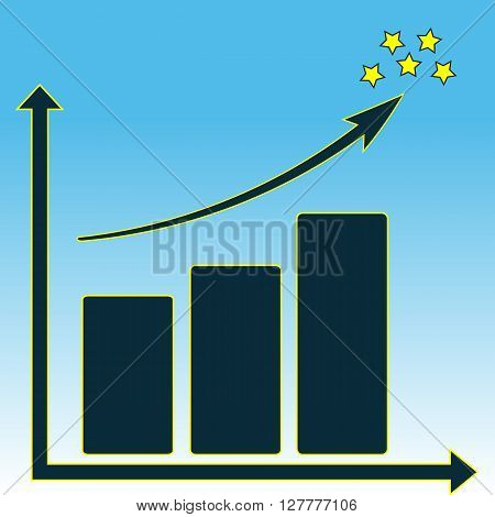 Vector schematic schedule growth and stars on a blue background. Abstraction.