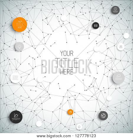 Vector abstract circles illustration / infographic network template with orange circles
