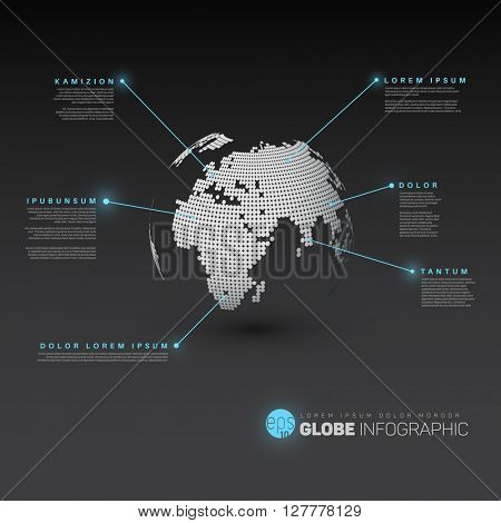 World map globe with pointer marks - dark version, with light blue effect pointers. Modern world map globe infographic