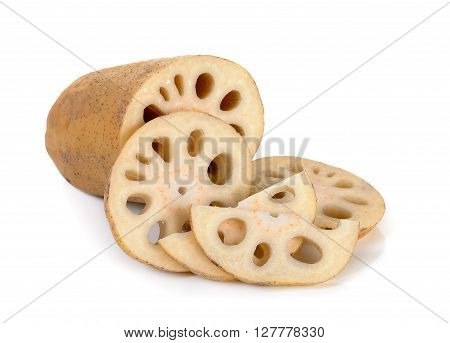 Sliced Lotus Root Isolated On The White Background