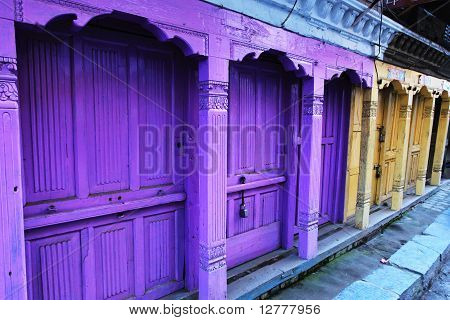 Colourful ancient door in Kadmandhu