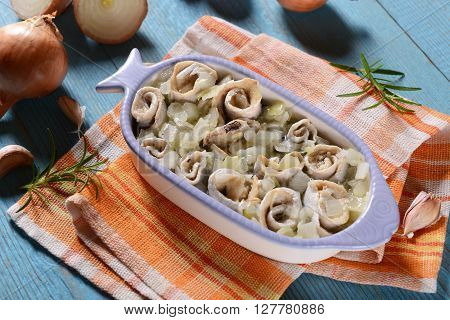 Marinated Herring Rools With Oil And Onion