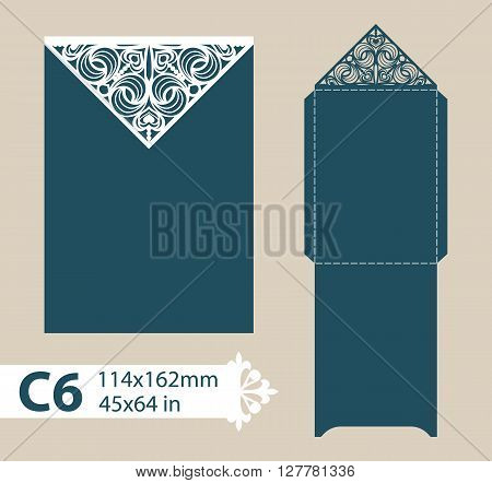 Layout congratulatory envelope with carved openwork pattern. Template is suitable for wedding greeting cards invitations etc. Picture suitable for laser cutting plotter cutting or printing. Vector