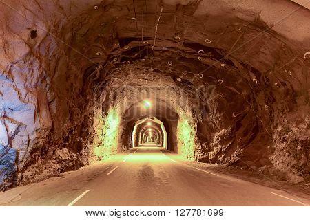Utakleiv tunnel (Uttakleivtunnelen) in Vestvagoy Lofoten Nordland Norway Scandinavia Europe