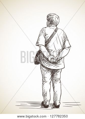 Sketch of standing woman pensioner back view Hand drawn illustration