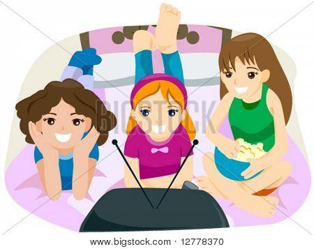 Watching TV - Vector