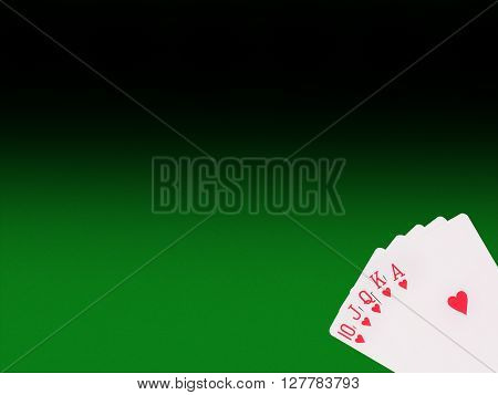 Royal flush  cards on the poker table. casino concept