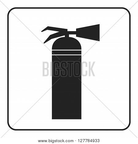 Fire extinguisher icon with flame. Extinguishing sign. Symbol of safety security protection and emergency danger alert firefighting. Black element isolated on white background Vector illustration