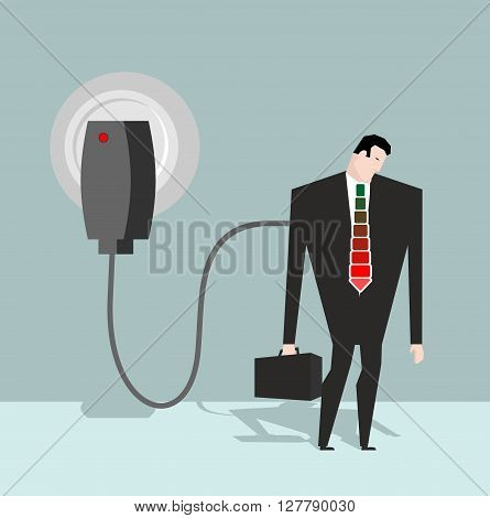 Charging For Manager. Businessman Charged From Battery Charger. Energizes A Man In Suit.