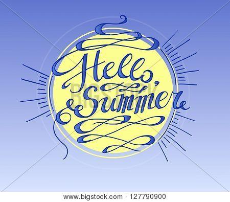 Phrase Hello Summer. Hand drawn vector stock illustration