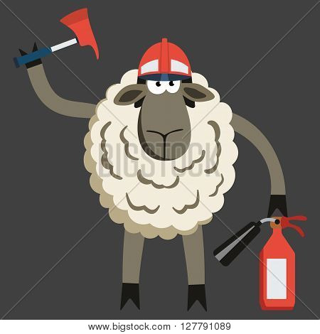 Stubborn Lamb Fireman. Sheep professional character. Vector illustration of stubborn fire fighter isolated on dark.