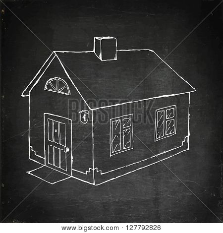 House vector stock illustration. Chalk board drawing