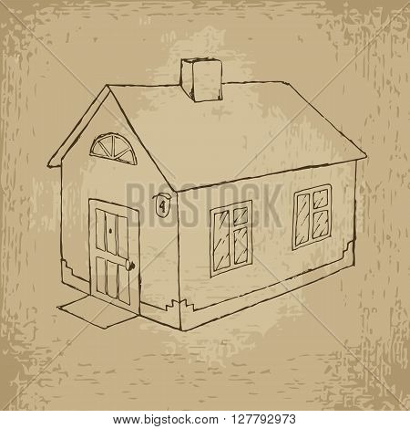 House vector stock hand drawn grunge illustration