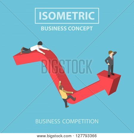 Isometric Businessman Climbs Up To The Top Of Graph