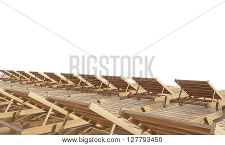 Rows of chaise longues isolated on white background. Mock up 3D Rendering