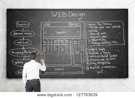 Businessman drawing web design plan scheme on blackboard