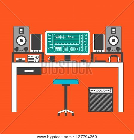 Musician workspace vector multocolor flat thin line illustration. Musician working table with digital equipment. Computer headphones sequencer loudspeakers and combo isolated on white background.