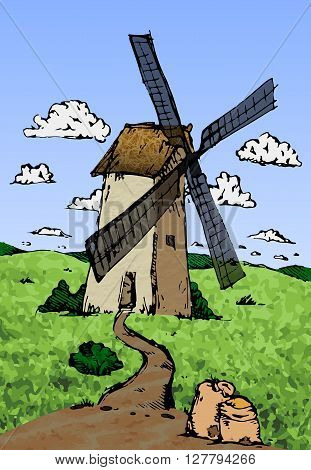 Old wind mill sketch. Hand drawn vector stock illustration