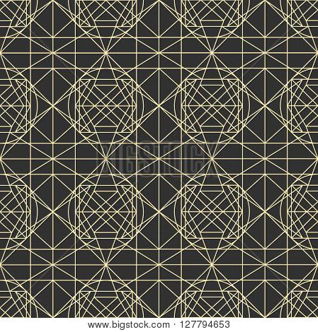 Hipster and vintage Vector geometrical dark seamless pattern with interweaving of thin lines. Decoration graphic in mono line style. Simple abstract ornamental gray and gold illustration.