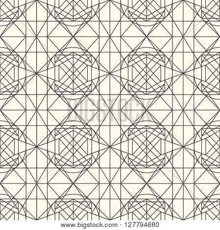 Hipster and vintage Vector geometrical light seamless pattern with interweaving of thin lines. Decoration graphic in mono line style. Simple abstract ornamental gray and gold illustration.