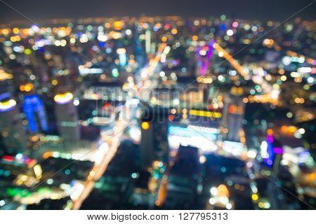 Blurred or Defocus Photo bokeh of Bangkok cityscape