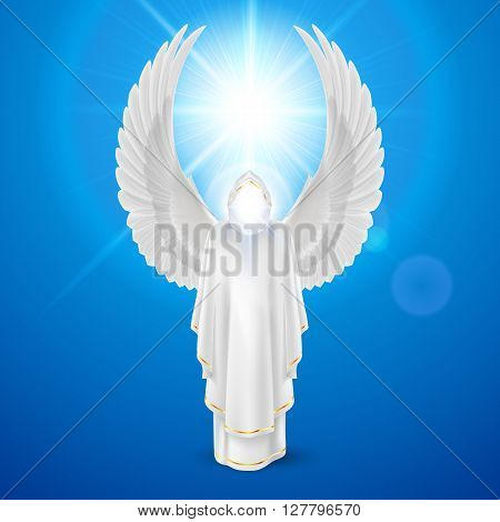 Gods guardian angel in white dress with wings up against sky background and bright sun flare. Religious concept
