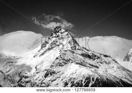 Black And White Winter Mountains