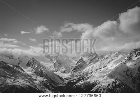 Black And White Mountains In Cloud