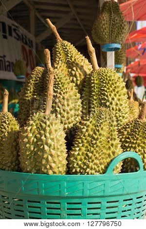Durian in the basket at fruits market