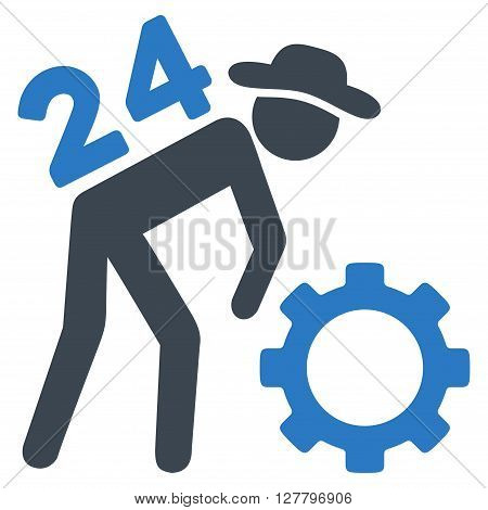 Nonstop Working Person vector icon. Style is bicolor flat icon symbol, smooth blue colors, white background.