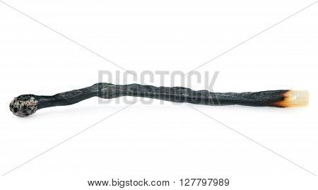 Wooden used burnt match isolated over the white background