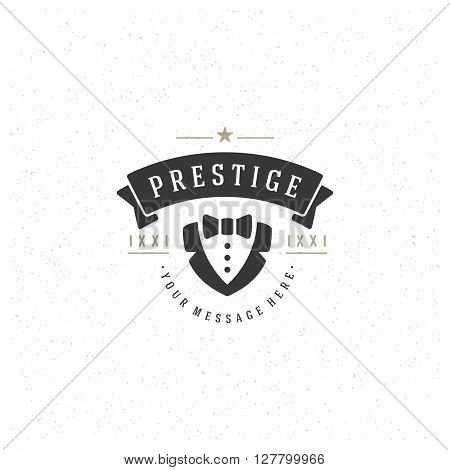 Costume Design Element in Vintage Style for Logotype, Label, Badge and other design. Dinner Jacket Silhouette retro vector illustration.