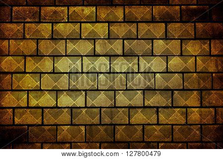 Texture Of Golden Decorative Tiles In Form Of Brick High Contrasted With Vignetting Effect Rhombus S