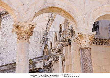 Closeup of the reconstructed Corinthian capitals of the Peristyle in Split Croatia