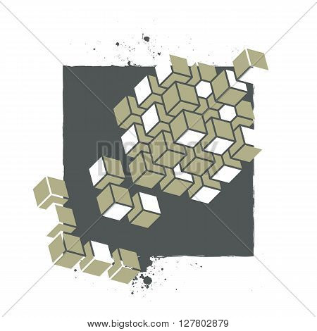 Vector Abstract Silkscreen Print Template For Textile Or Poster Design With Geometric Shapes And Spl