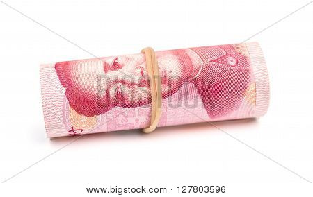 RMB binded with elastic on white background