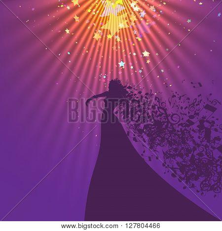 Silhouette of Opera Singer with Hair Like Musical Symbols. Opera  Vector Illustration. Opera Singer Silhouette on White Background.