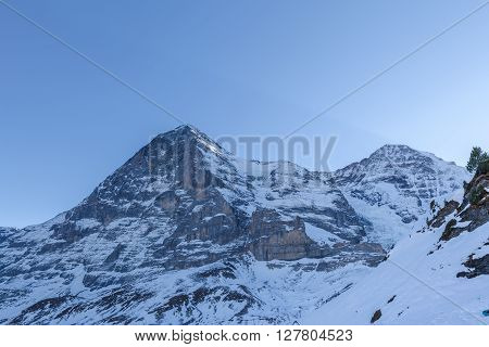 View Of Eiger North Face From Kleine Scheidegg In Winter