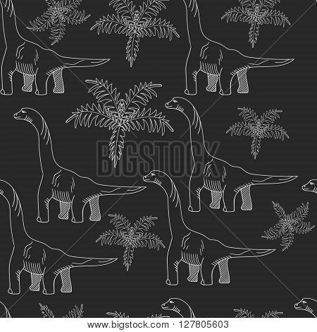 Brontosaurus seamless chalk predator vector illustration. Black and white lines