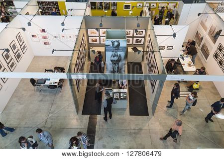 Top View Of People And Booths At Mia 2016 In Milan, Italy