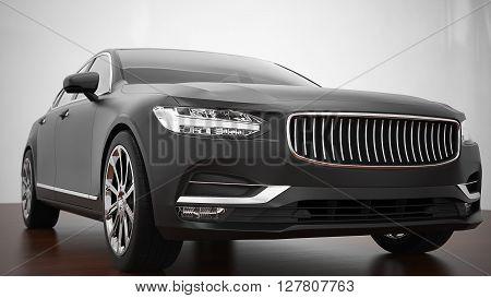 Car wrapped in black super matte film. 3d render