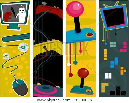 Gaming Vertical Banners - Vector