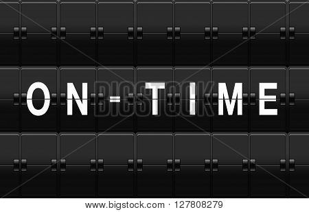 Airport split-flap board with on time text