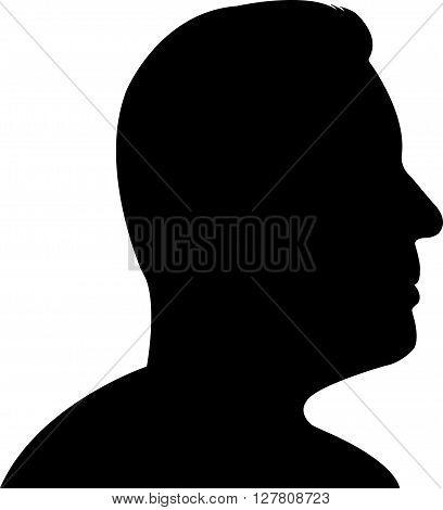 a man head black color silhouette vector artwork