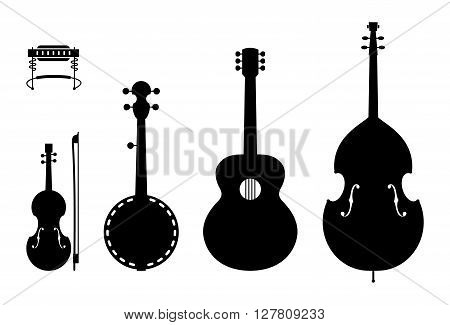 Country Music Instruments Silhouettes. Vector Illustration Of Musical Instruments Silhouettes Of A Regular, Traditional Country Music Band.