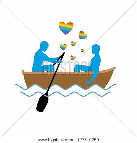 Gays In Boat. Lovers Of Sailing. Rendezvous Blue Men In  Boat On Pond. Romantic Lgbt Illustration. H