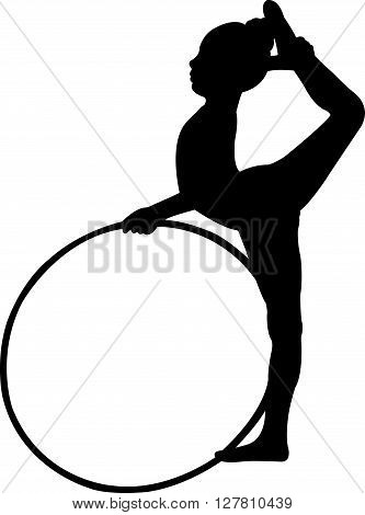 a gymnast girl performing, silhouette vector art work