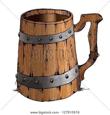 Ancient old wooden handmade mug isolated on white background. Hand drawn vector stock illustration