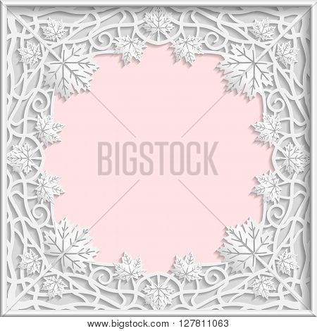 3D Vector bas-relief frame maple leaves frame branches frame vintage frame festive frame white frame template greetings