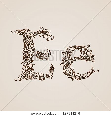 Handsomely decorated letter e in upper and lower case.